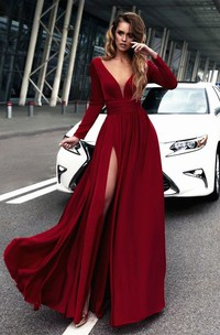 Chiffon Sheath Plunging Long Sleeve Front Split Dress