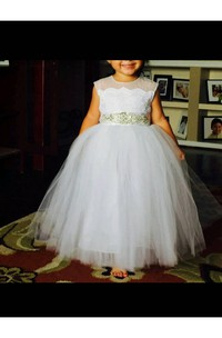Flower Girl Sleeveless Tulle Ball Gown With Beading Sash