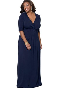 Plunging Neckline Long Jersey Dress With Long Sleeves