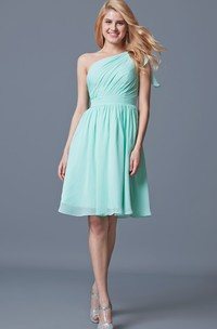 Sassy One Shoulder Pleated Short Chiffon Dress With Bow