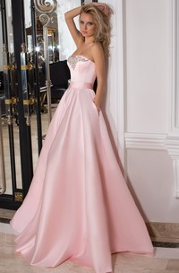 Strapless Maxi Beaded Satin Prom Dress With Ribbon