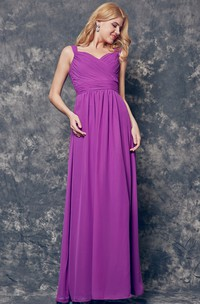 Off-the-shoulder Ruched Long A-line Chiffon Dress