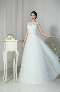 A-Line Floor-Length Bateau-Neck Sleeveless Keyhole Tulle Dress With Beading And Pleatings