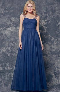 Cap Sleeve A-line Ruched Top Long Tulle Dress