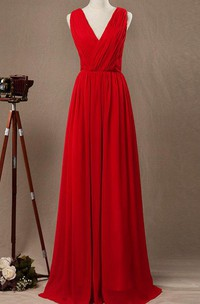 Floor-length Strapped V-neck Chiffon&Satin Dress With Criss cross