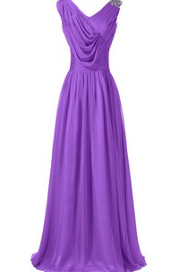 Sleeveless V-neck Long Dress With Draped Bodice
