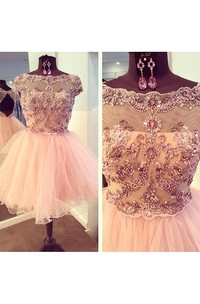 Beading Bateau Neckline Pleated Ruffled Tulle Dress