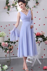 Chiffon V-Neck Tea-Length Dress With Criss-Cross Ruching