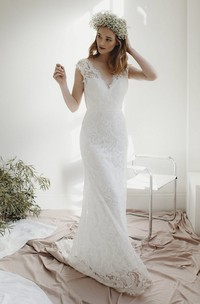 Cap Sleeve Lace Sheath Deep V-neck Wedding Dress With Court Train