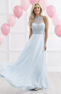A-Line Maxi High Neck Sleeveless Chiffon Keyhole Dress With Beading