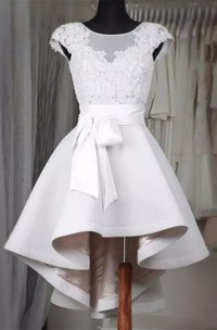 A-line Short Sleeve Satin Lace Bateau High-low Homecoming Dress