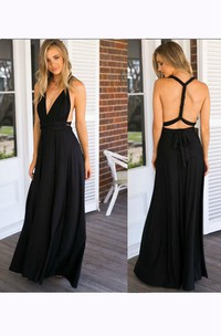 Floor-length V-neck Sleeveless Chiffon Dress