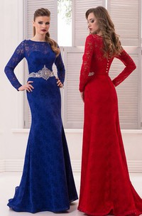 Mermaid Floor-Length Sweep High-Neck Long Sleeve Lace Beading Pleats Button Dress