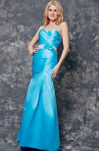 Backless Sweetheart Ruched Long Satin Dress With Sash
