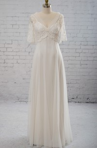 V-Shaped Neckline Cape Tulle Dress With Appliques