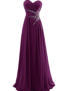 Impressive Sweetheart Ruched Beaded Long Prom Dress