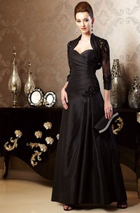 Sweetheart Long Mother Of The Bride Dress With 3-4 Sleeved Jacket Style And Beadings