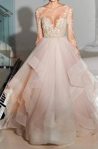 Bateau Long Sleeves Organza Lace Wedding Dresses With Appliques