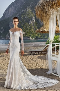 Sheath Off-The-Shoulder Long-Sleeve Lace Wedding Dress With Illusion
