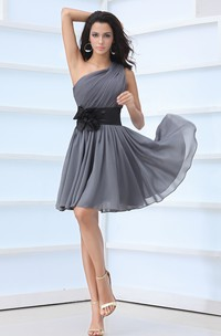 Chiffon One-Shoulder Short Dress With Floral Sash