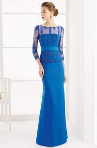 Sheath Appliqued 3-4-Sleeve Floor-Length Scoop-Neck Satin Prom Dress With Beading