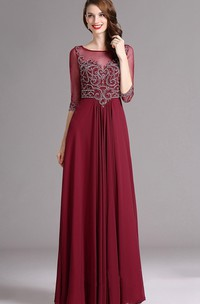Empire Floor-Length Bateau Half Sleeve Empire Chiffon Beading Keyhole Dress