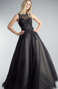A-line Floor-length High Neck Sleeveless Tulle Illusion Dress