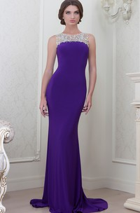 Sheath Sleeveless Floor-Length Jewel-Neck Beaded Jersey Evening Dress