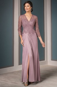 3-4 Sleeved V-Neck Mother Of The Bride Dress With Front Slit And Pleats