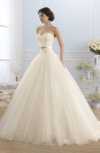 Ball Gown Floor-Length Sweetheart Sleeveless Backless Tulle Dress With Appliques And Waist Jewellery