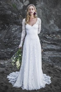 A-line Lace Long Sleeve Sexy Wedding Gown With V-neck And Keyhole