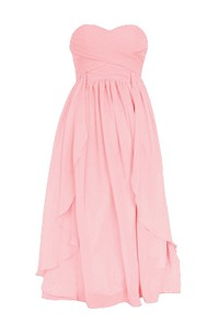 Tea-length Sweetheart Criss-cross Chiffon A-line Dress