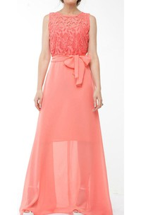Coral Bridesmaid Chiffon Coral Evening Wedding Coral Lace Long Dress