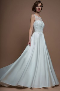 A-Line Sleeveless Floor-Length Appliqued Scoop Satin Wedding Dress With Brush Train And Illusion Back