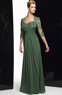 Sheath Floor-Length Sweetheart Beaded Half-Sleeve Chiffon Formal Dress With Appliques And Draping