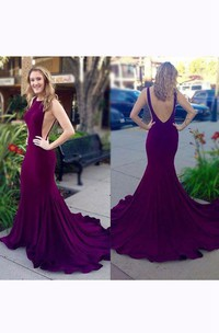 Mermaid Chiffon Dress with Deep V Back and Ruffles