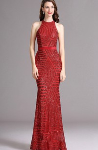 Sheath Halter Sleeveless Sequins Illusion Dress