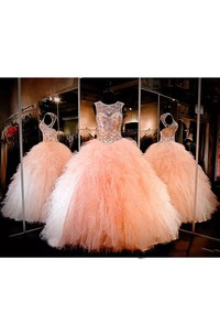 Jewel Ball Gown Floor-length Sleeveless Tulle Prom Dress with Lace-up Keyhole Back