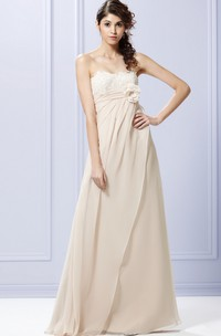 Side Draped Strapless Gown With Flower And Bow