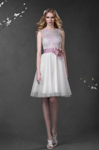 A-Line Mini Scoop Sleeveless Low-V-Back Lace Tulle Dress With Bow