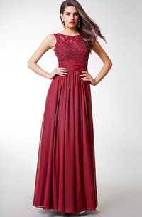 Gorgeous Cap-sleeved Long Chiffon Dress With Lace-embellished Bodice