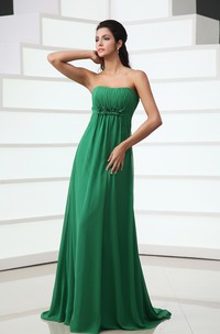 Sweetheart Floor-Length Chiffon Dress With Floral Ruching