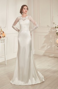Sheath Long Jewel-Neck Illusion-Sleeve Lace-Up Satin Dress With Keyhole
