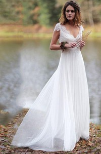 Ethereal Sheath Chiffon and Pleated Lace Wedding Dress