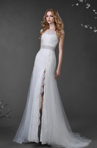 A-Line Long Scoop Cap-Sleeve Corset-Back Tulle Dress With Split Front And Lace