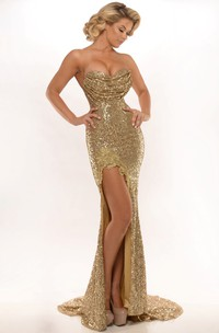 Appliqued Sweetheart Sleeveless Sequin Prom Dress With Split Front