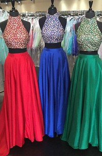 Two Pieces Gorgeous Beadings Prom Dresses 2018 High Neck Long