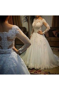 Modest Bateau Neck Long Sleeves Sexy Back Pearls Appliques Wedding Gown