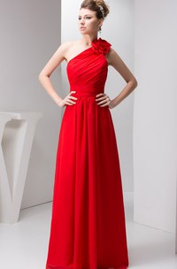 One-Shoulder Floor-Length Chiffon Floral Epaulet and Dress With Ruching