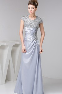 Caped-Sleeve Sheath Ruched Appliques and Dress With Jewels
